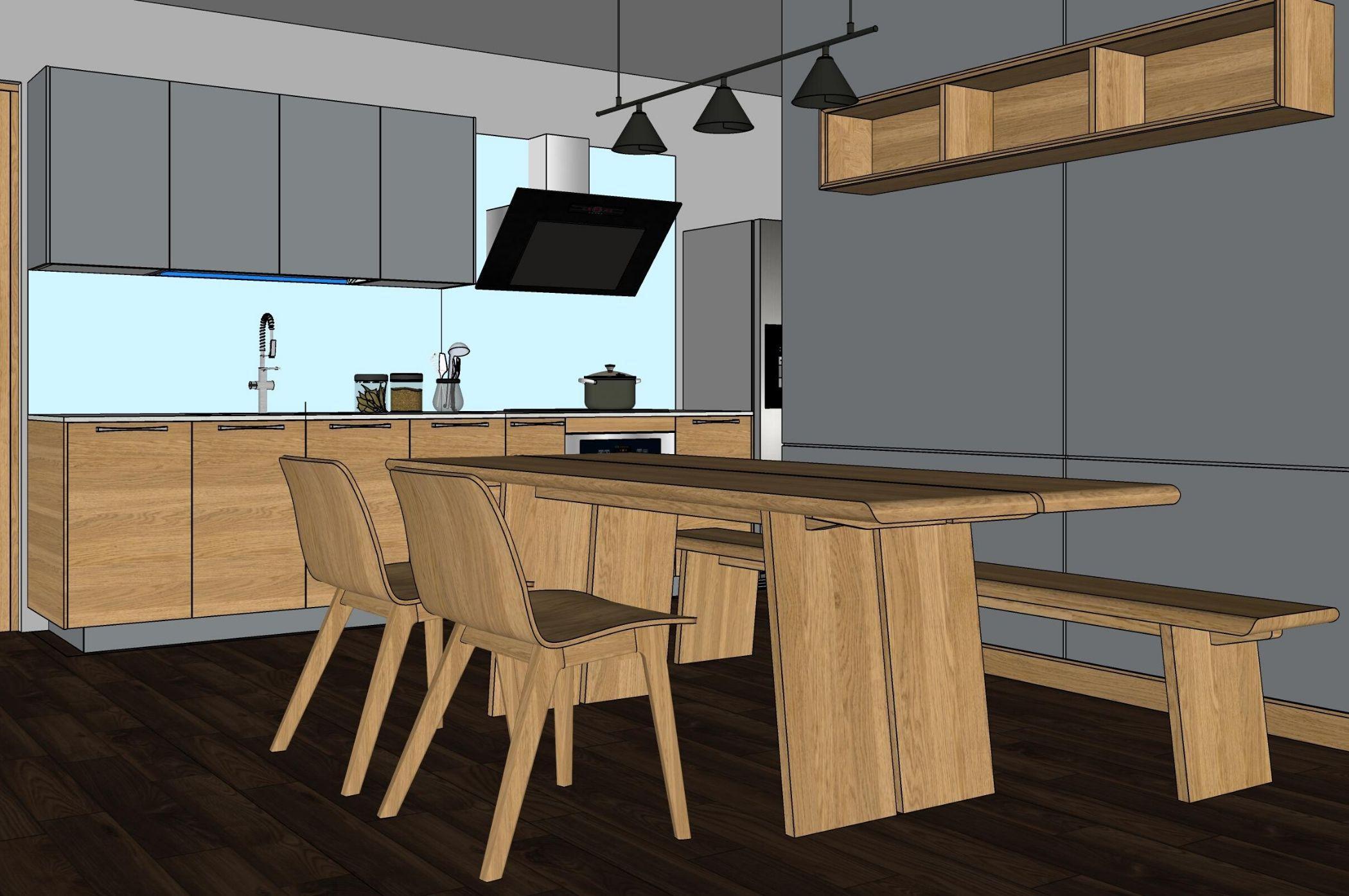 Một bản thiết kế 3D nội thất phòng bếp hoàn chỉnh
