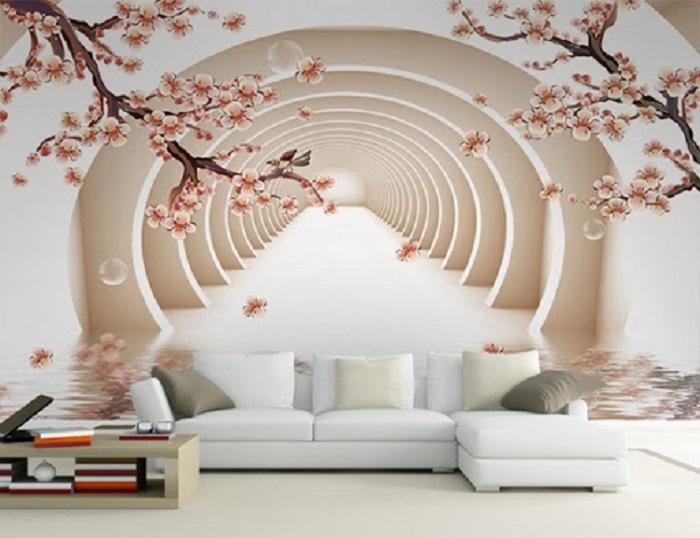 Tranh dán tường 3D với hình ảnh không gian 3 chiều sống động