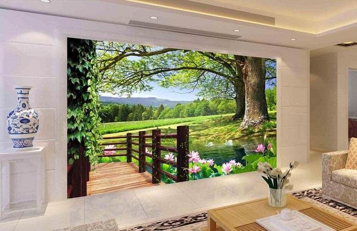 Tranh dán tường tôn lên vẻ đẹp căn phòng