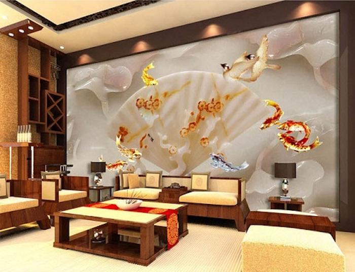 Tranh gạch 3D là một cách trang trí phòng khách độc đáo