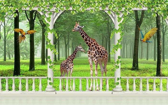 Tranh 3D hình con vật đẹp dễ thương