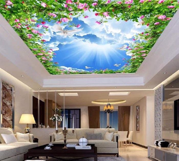 Phòng khách trở nên đẹp hơn với tranh trần xuyên sáng