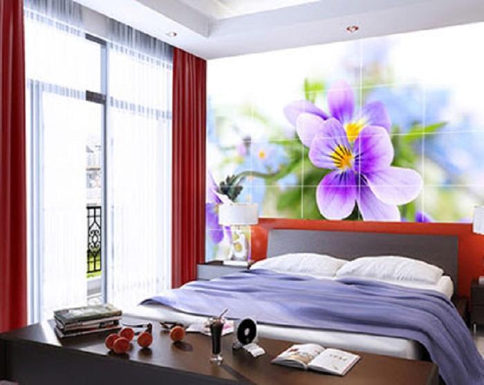 Phòng ngủ nhẹ nhàng với tranh gạch 3D họa tiết hoa lá