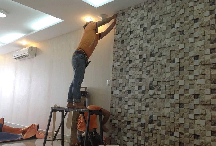 Các bước tiến hành dán giấy dán tường